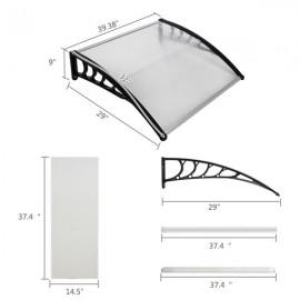HT-100 x 80 Household Application Door & Window Rain Cover Eaves Canopy White & Black Bracket