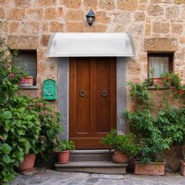 HT-120 x 80 Household Application Door & Window Rain Cover Eaves Canopy White & Gray Bracket