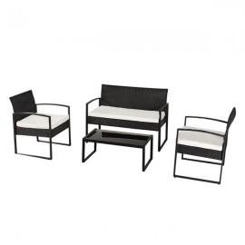 Oshion Outdoor Leisure Rattan Furniture Wicker Chair 4-piece Metal Armrest-Black