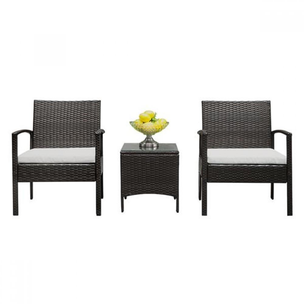 [US-W]TY-3pcs 2pcs Arm Chairs 1pc Coffee Table Rattan Sofa Set Brown Gradient