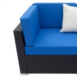 Fully Equipped Weaving Rattan Sofa Set with 2pcs Corner Sofas Black