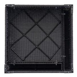 Fully Equipped Weaving Rattan Sofa Set with 2pcs Corner Sofas & 2pcs Single Sofas Black