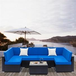 Fully Equipped Weaving Rattan Sofa Set with 2pcs Corner Sofas & 4pcs Single Sofas & 1 pcs Coffee Table Black-Coffee Table