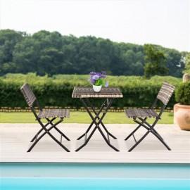 [US-W]Oshion Folding Rattan Chair Three-Piece Square Table-Grey