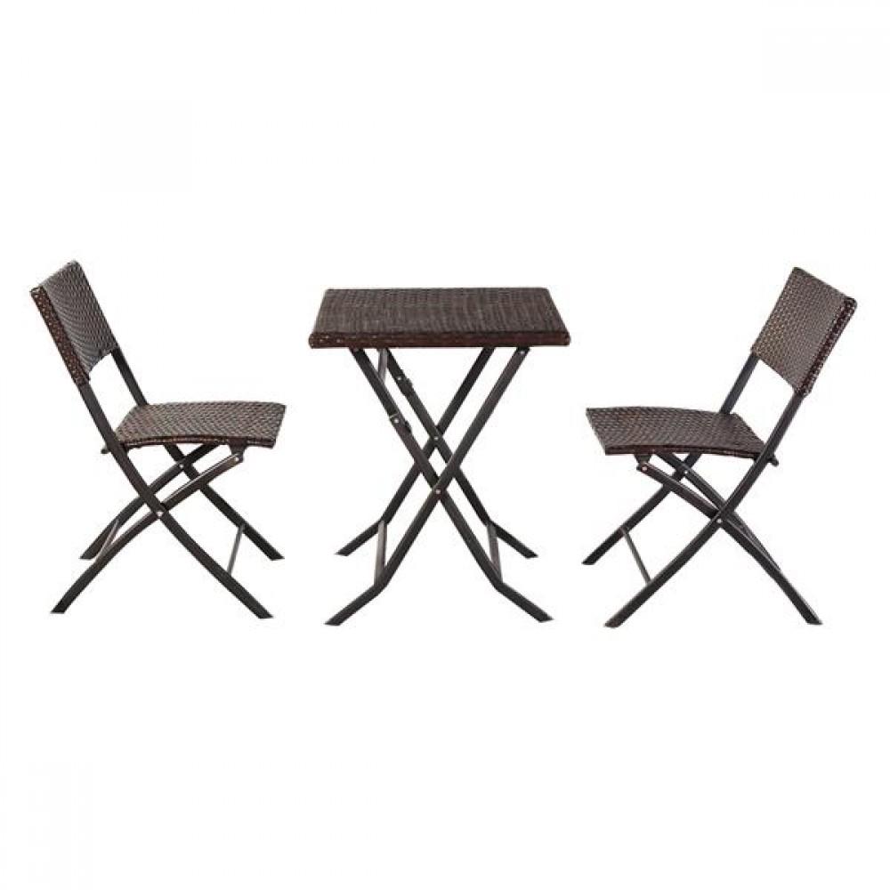 [US-W]Oshion Folding Rattan Chair Three-Piece Square Table-Brown