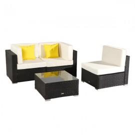 4 Pieces Patio PE Wicker Rattan Corner Sofa Set