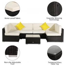 7 Pieces Patio PE Wicker Rattan Corner Sofa
