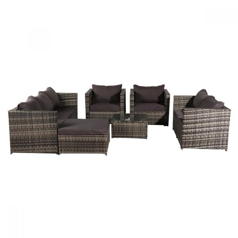 Oshion 8-Seat Rattan Furniture Outdoor Sofa With Free Rain Cover Dark Gray Sofa Cover (UK Flame Retardant Material)-Gray Rattan Total 4 Boxes