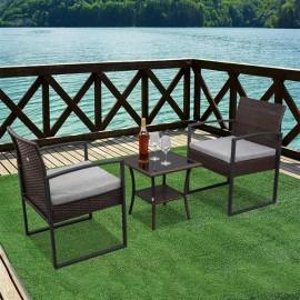 Outdoor Balcony Terrace 3-piece Rattan Mini Leisure Set
