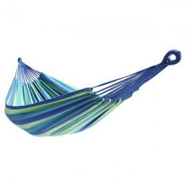 200*150cm Portable Polyester & Cotton Hammock Blue & Green Strip