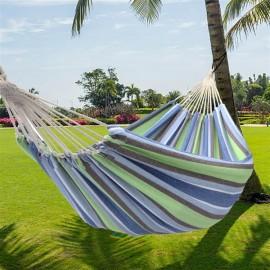 [US-W]200*150cm Portable Polyester & Cotton Hammock Green Strip