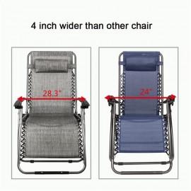 Zero Gravity Lounge Chair Widened Folding Chair Leisure Chair Gray