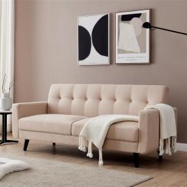 "Mid-Century Modern Sofa, Fabric, 79""W, Beige"