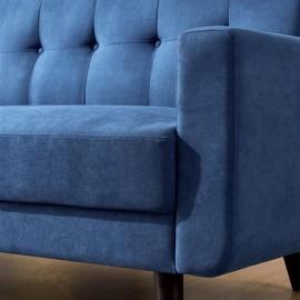 "Mid-Century Modern Sofa, Fabric, 79""W, Blue"