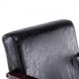 (64 x 59 x 71cm) Simple PU Oil Wax Wood Armrest Single Sofa Walnut   Black PU