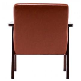 (64x59x71cm) Simple PU Oil Wax Wood Armrest Single Sofa Walnut   Brown PU