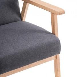 (64x59x71cm) Simple Fabric Wood Armrest Single Sofa Burlywood   Light Grey