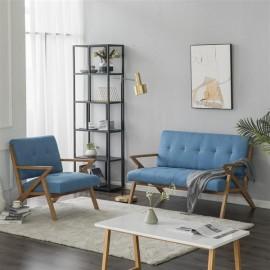 (126 x 85 x 82.5cm) Solid Wood K-type Retro Double Sofa Chair Light Blue