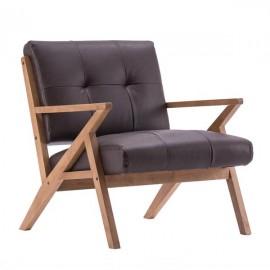 (76 x 85 x 82.5cm) Solid Wood Retro Single Sofa Chair Suede Brown