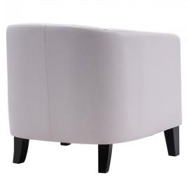 Circle Chair Modern Simple Single Sofa with Copper Nails PU White (73x64x70cm)