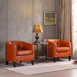 (73x64x70cm) Circle Chair Modern Minimalist Single Sofa with Copper Nails PU Brown Orange
