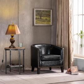 (73x64x70cm) Circle Chair Modern Minimalist Single Sofa with Copper Nail PU Black
