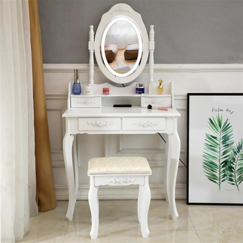 FCH LED Single Mirror 4 Drawer Dresser White