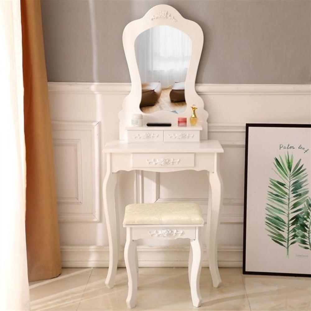 FCH Irregular Single Mirror 3 Drawer Dressing Table White