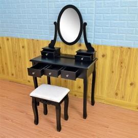360° Rotation Single Mirror 5 Drawers Dressing Table Black