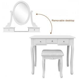 360° Rotation Single Mirror 5 Drawers Dressing Table White