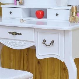 [US-W]Tri-fold Mirror Dresser with Dressing Stool White