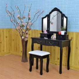 Tri-fold Mirror Dresser with Dressing Stool Black