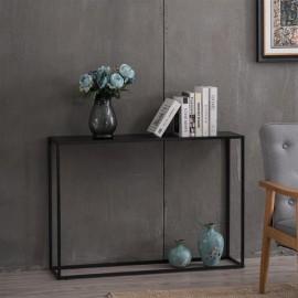 [US-W](106 x 28 x 76)cm Wood Grain Entrance Table Black