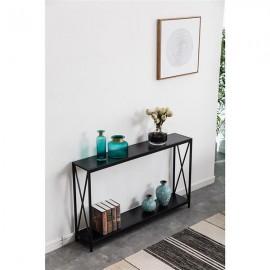 [US-W]Triamine Board Cross Iron Frame Porch Table Sofa Side Table Black Wood Grain