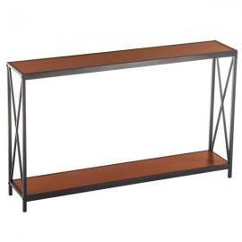 [US-W]Triamine Board Cross Iron Frame Porch Table Sofa Side Table Reddish Brown Wood Grain