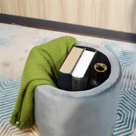 FCH Storage Ottoman Set Round Velvet Footrest Modern Vanity Stool Seat with Golden Steel Base Removable Lid for Bedroom Living Room