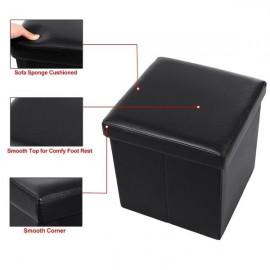 [US-W]FL-01S Practical PVC Leather Square Shape Footstool Black