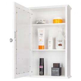 [US-W]Single Door Mirror Indoor Bathroom Wall Mounted Cabinet Shelf White