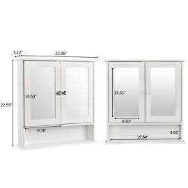 [US-W]Double Door Mirror Indoor Bathroom Wall Mounted Cabinet Shelf White