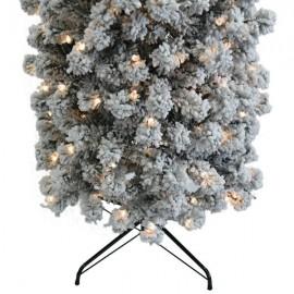 7.5ft Pencil Flocking Tied Light Christmas Tree