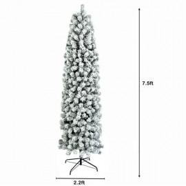 7.5ft Pencil Flocking Christmas Tree