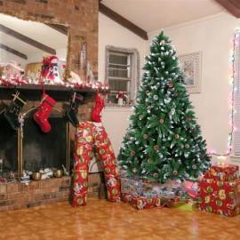 Christmas Tree 7FT 1350 Branch Flocking Spray White Tree Plus Pine Cone (YJ)
