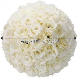 5Pcs 25CM Flower Balls Wedding Decoration Ivory White