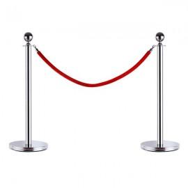 6pcs 32*95CM Concierge Columns Pillars 3 1.5M Velvet Rope Silver
