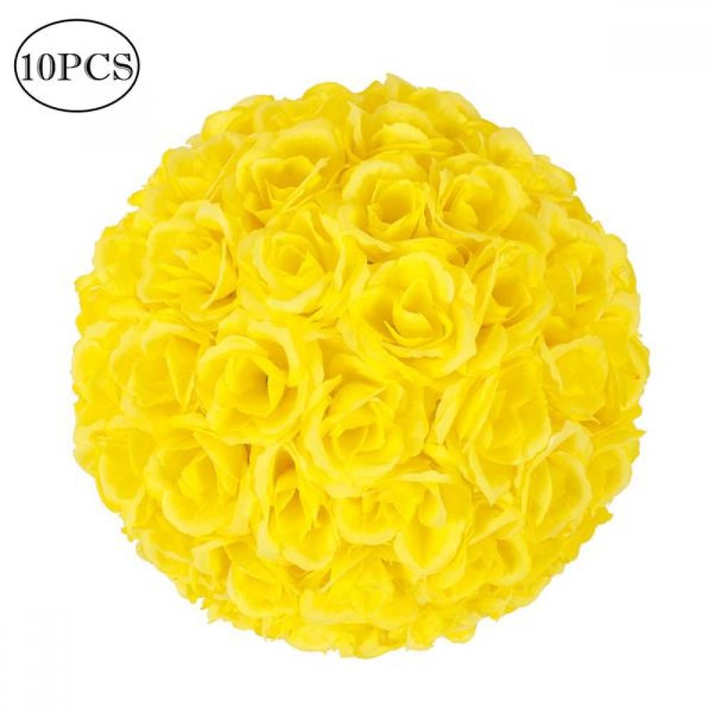10Pcs 25CM Flower Balls Wedding Decoration Yellow